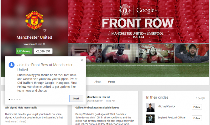 1Google Plus Page for MU Front Row