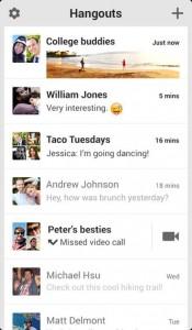 Google Hangouts iOS Screenshot